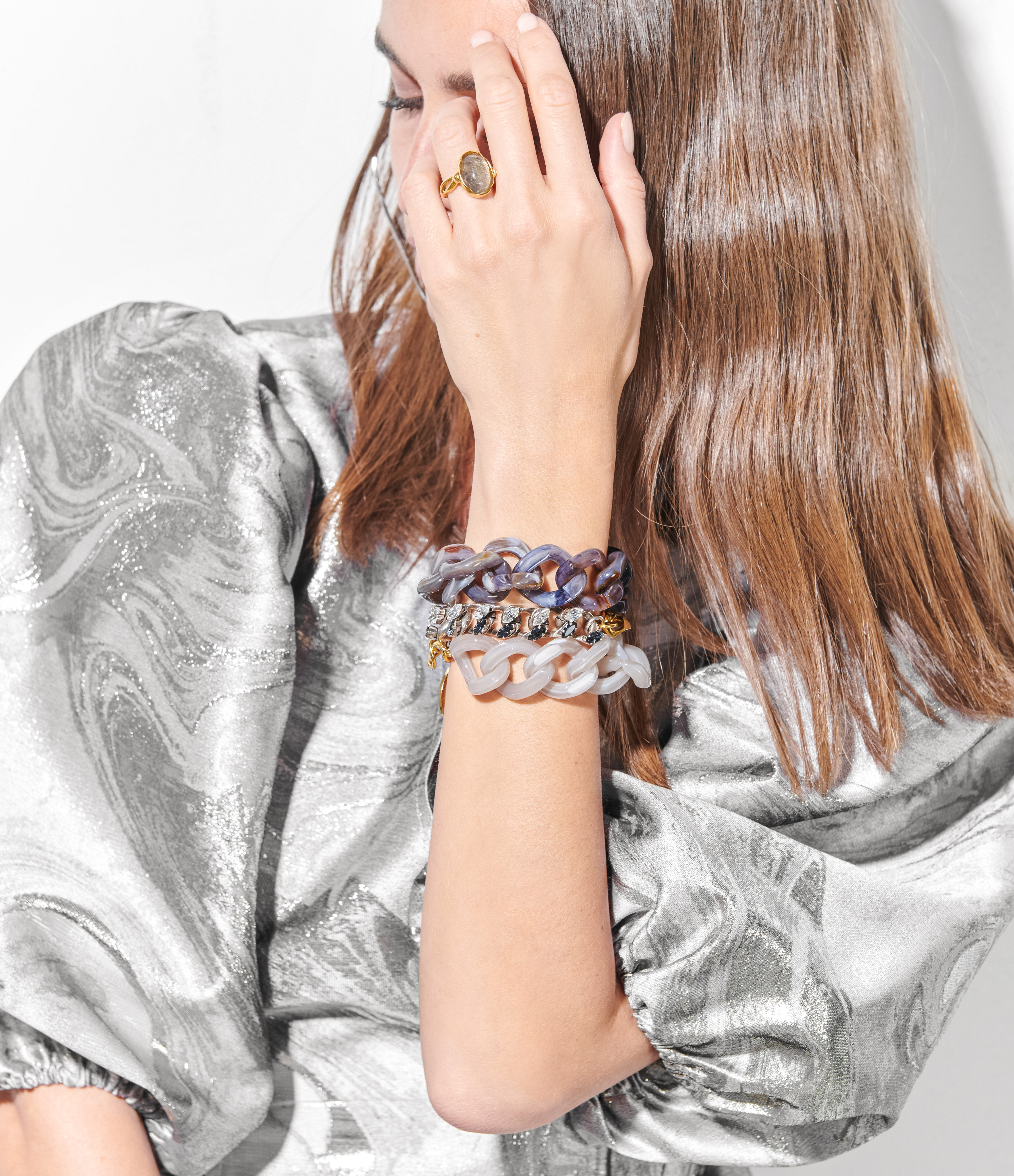 VANESSA BARONI - Bracelet Flat Milky Grey
