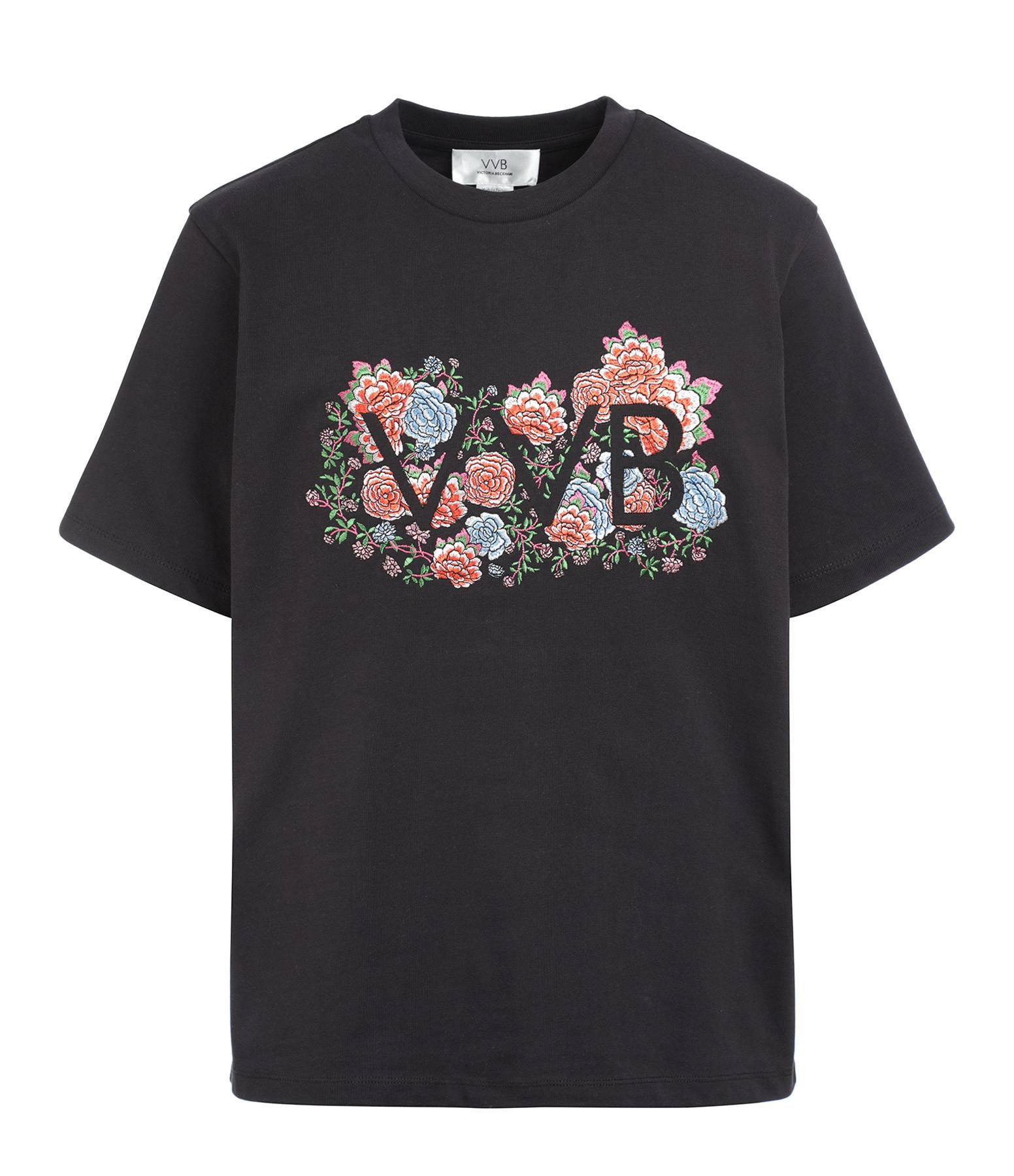 VICTORIA VICTORIA BECKHAM - Tee-shirt Logo Floral Noir