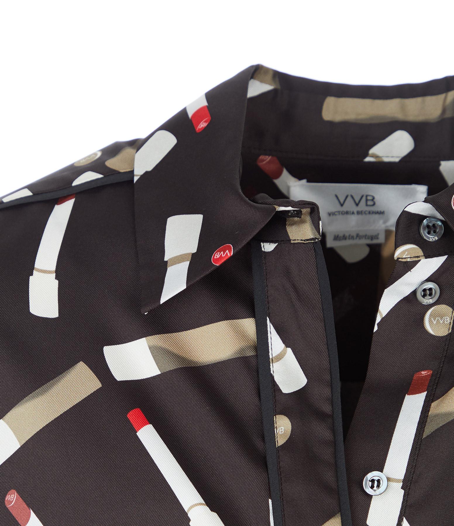 VICTORIA VICTORIA BECKHAM - Robe Chemise Imprimé Recyclé Noir