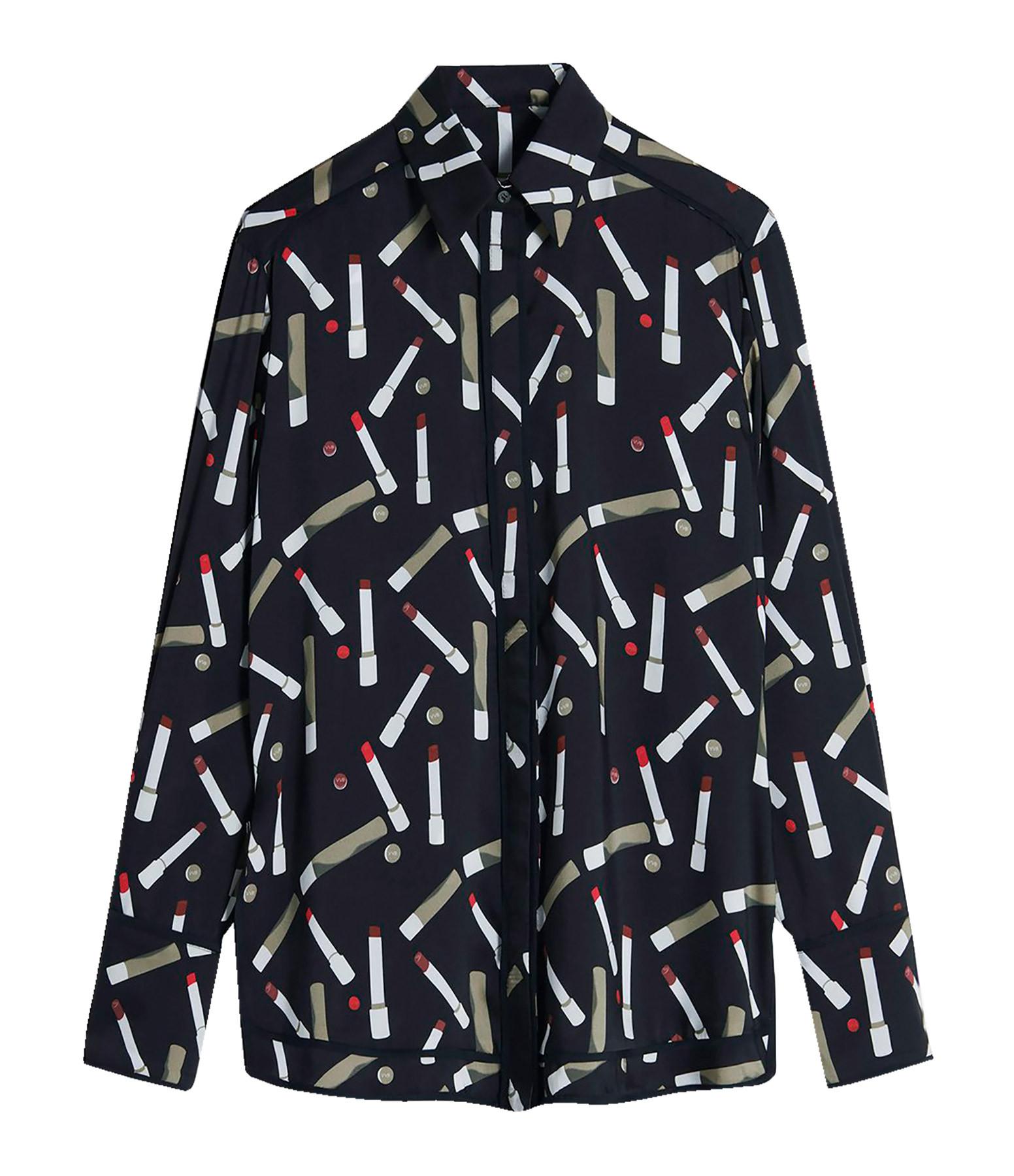 VICTORIA VICTORIA BECKHAM - Chemise Pyjama Imprimé Recyclé Noir