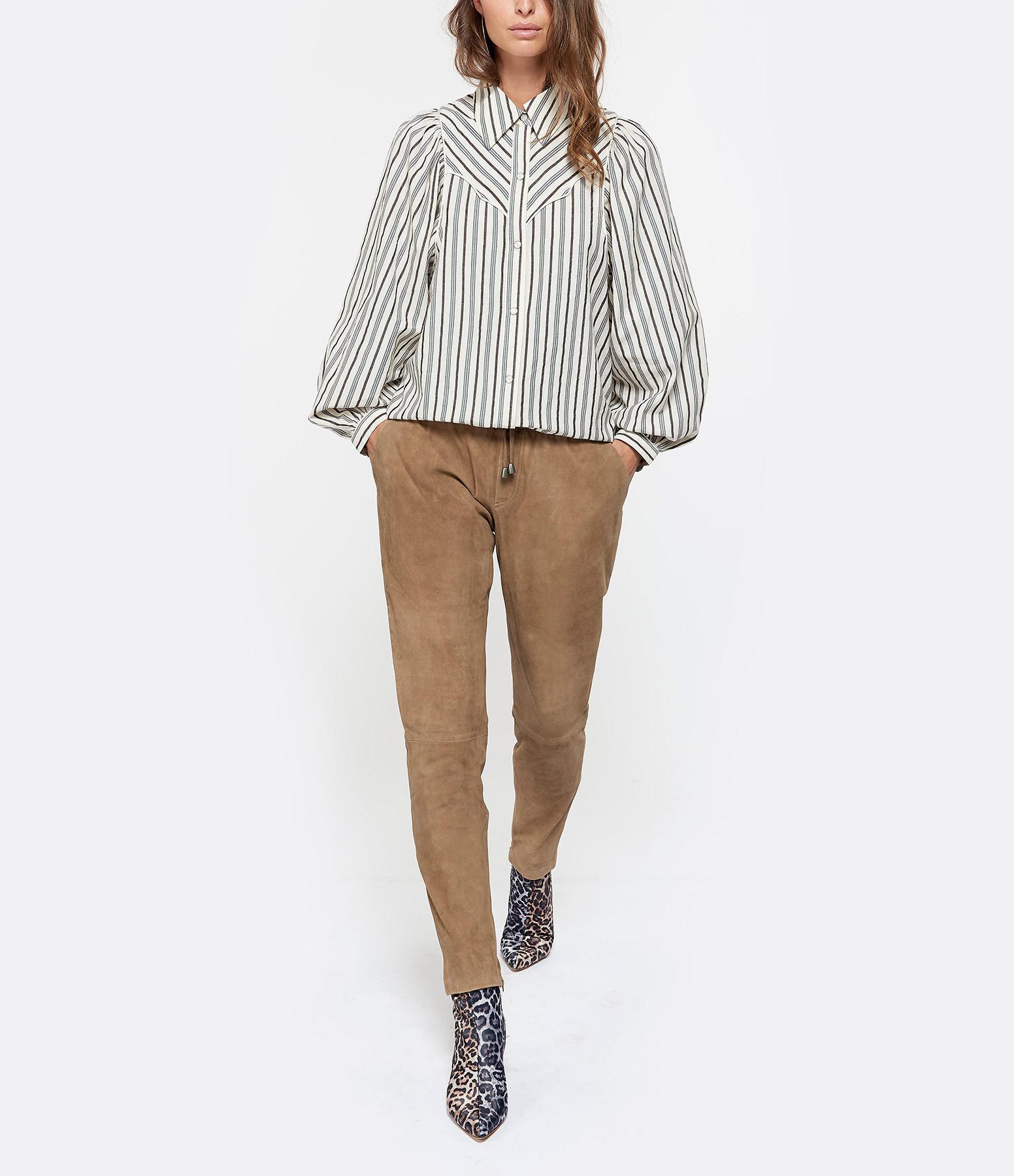 MUUBAA - Pantalon Amelia Cuir Suédé Marron