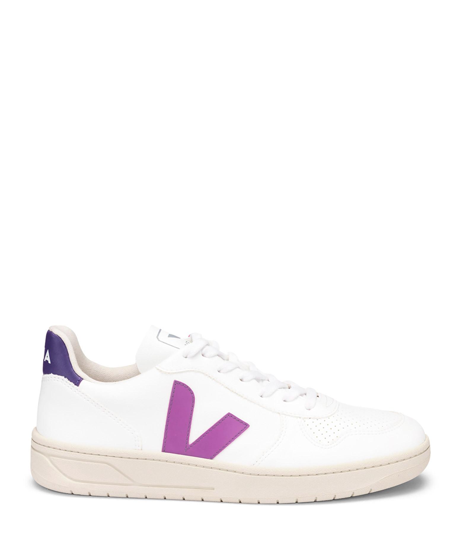 VEJA - Baskets V-10 CWL Blanc Ultraviolet Violet