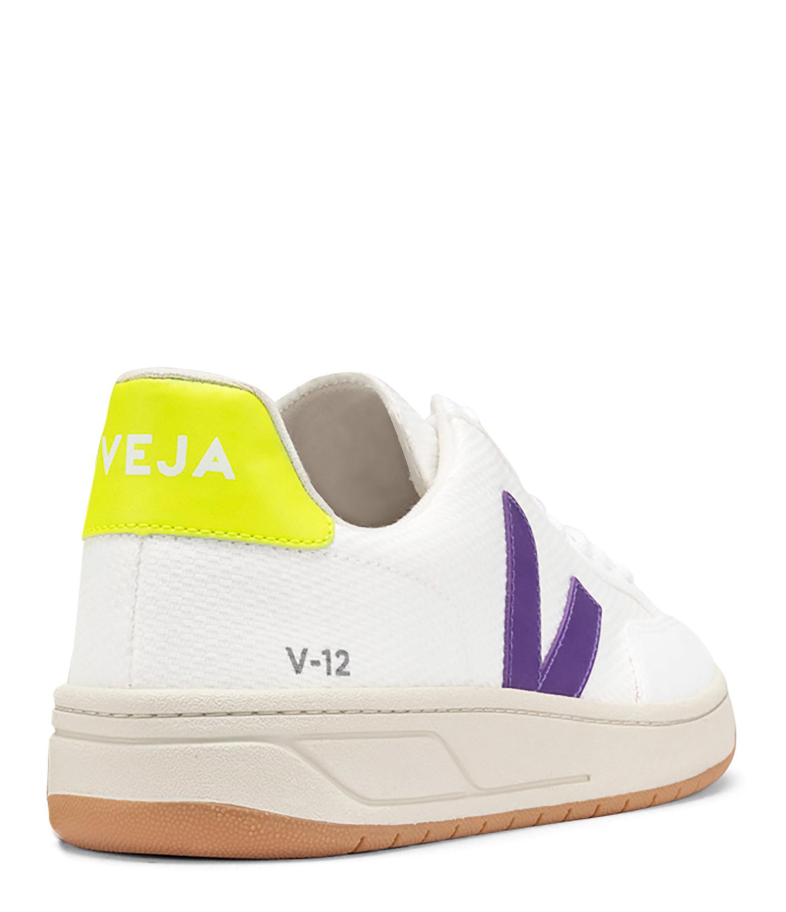 VEJA - Baskets V-12 B-Mesh Blanc Violet Jaune Fluo