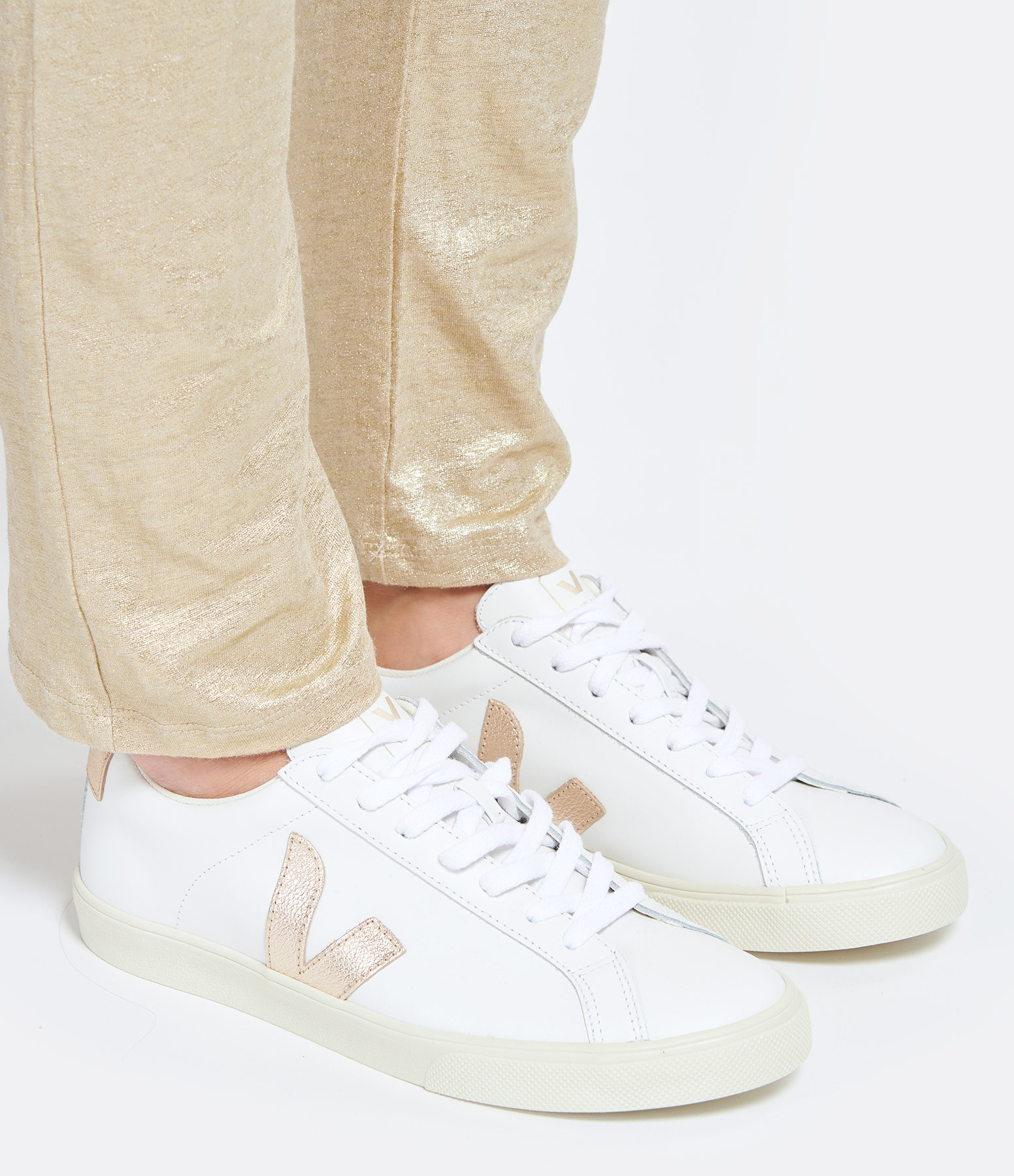 VEJA - Baskets Esplar Cuir Extra White Platine