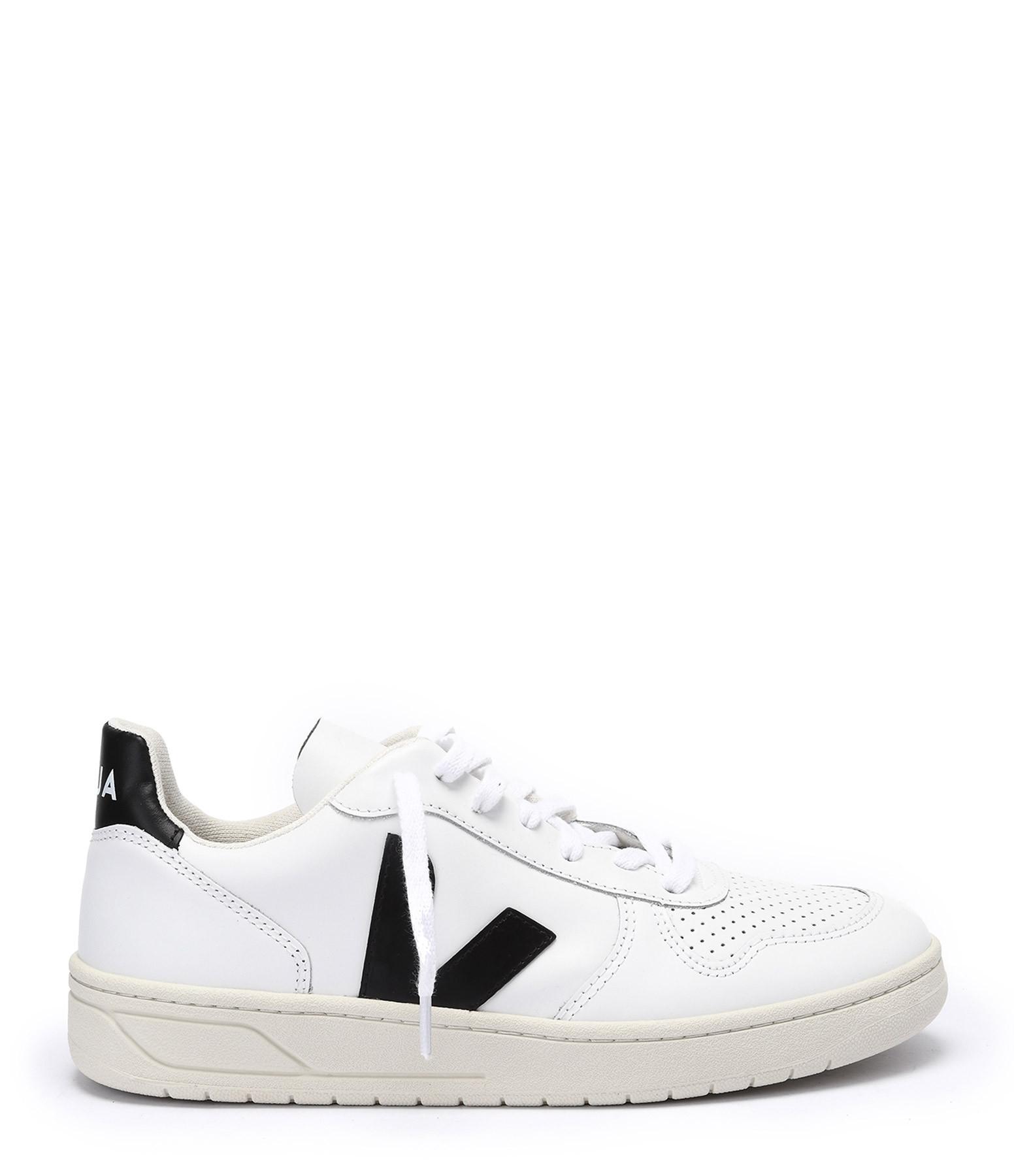 VEJA - Baskets V-10 Cuir Extra Blanc Noir
