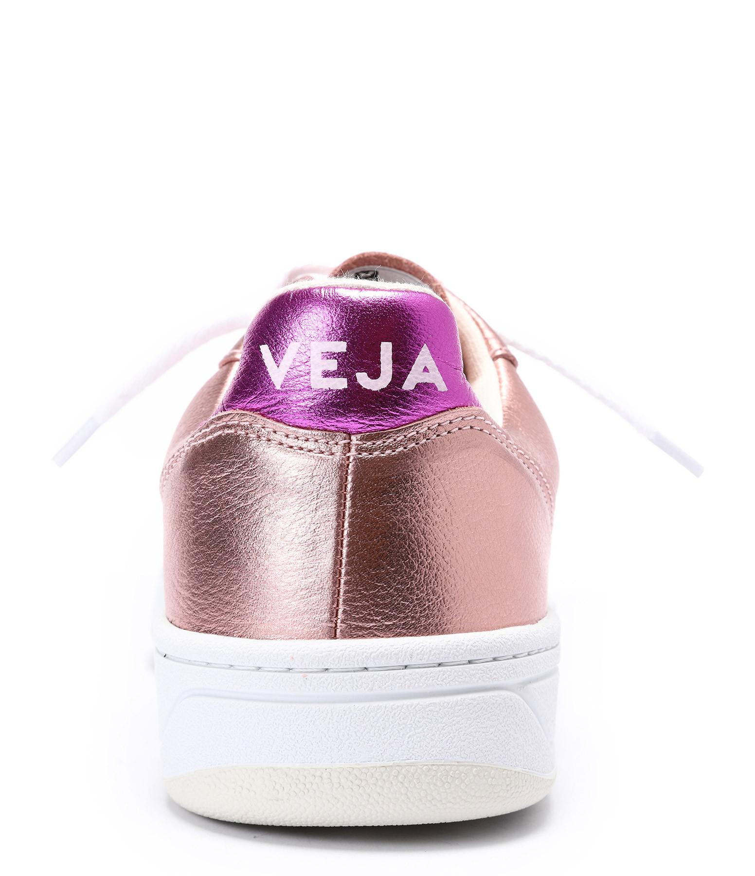 VEJA - Baskets V-10 Cuir Nacre Blanc Rose Fushia