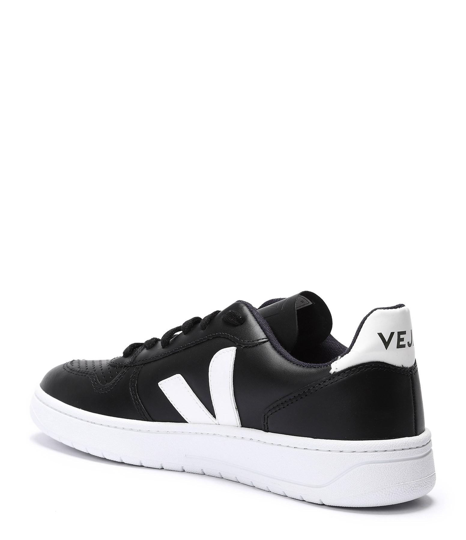 VEJA - Baskets V-10 Cuir Noir Blanc