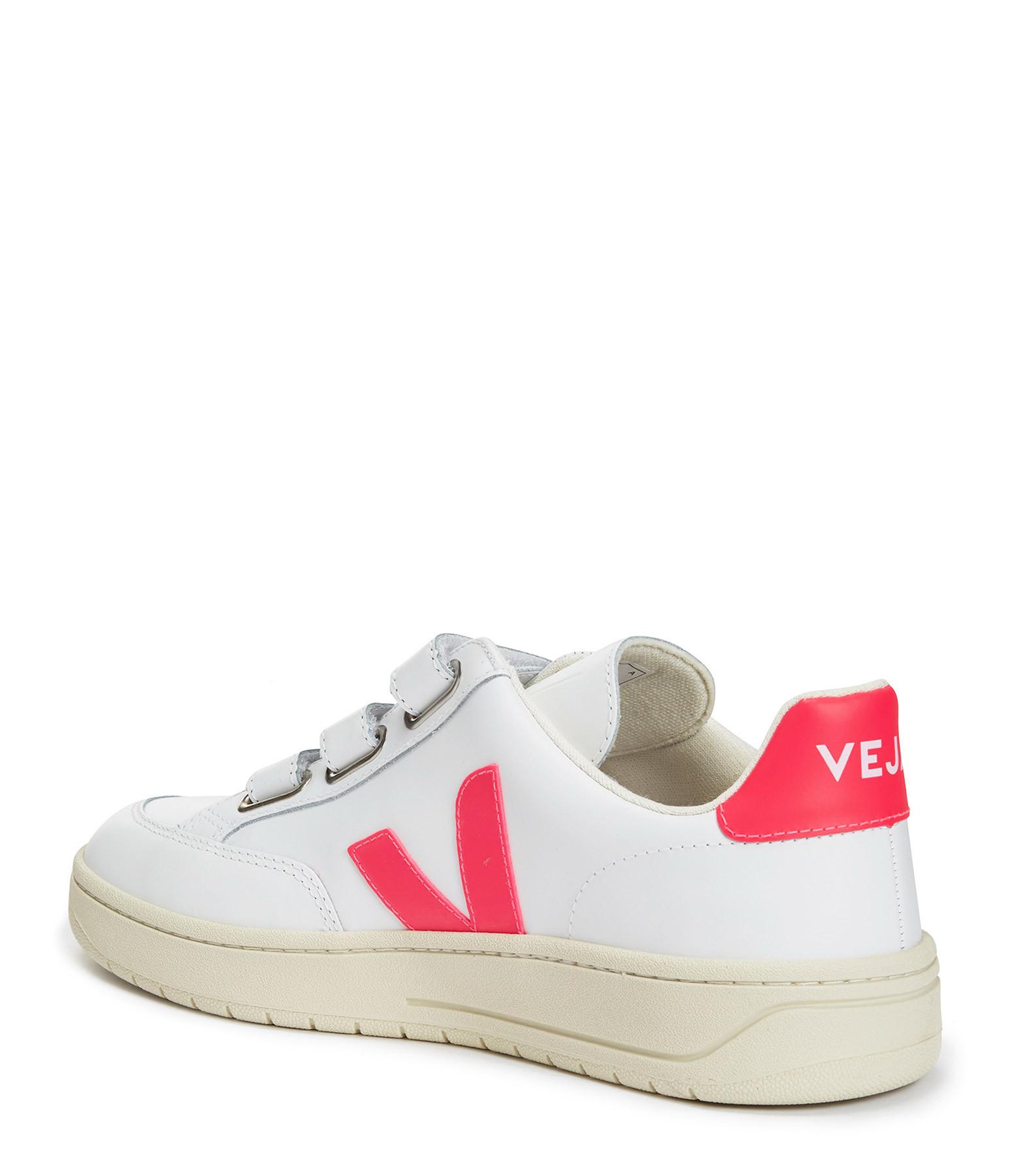 VEJA - Baskets V-Lock Cuir Extra Blanc Rose Fluo