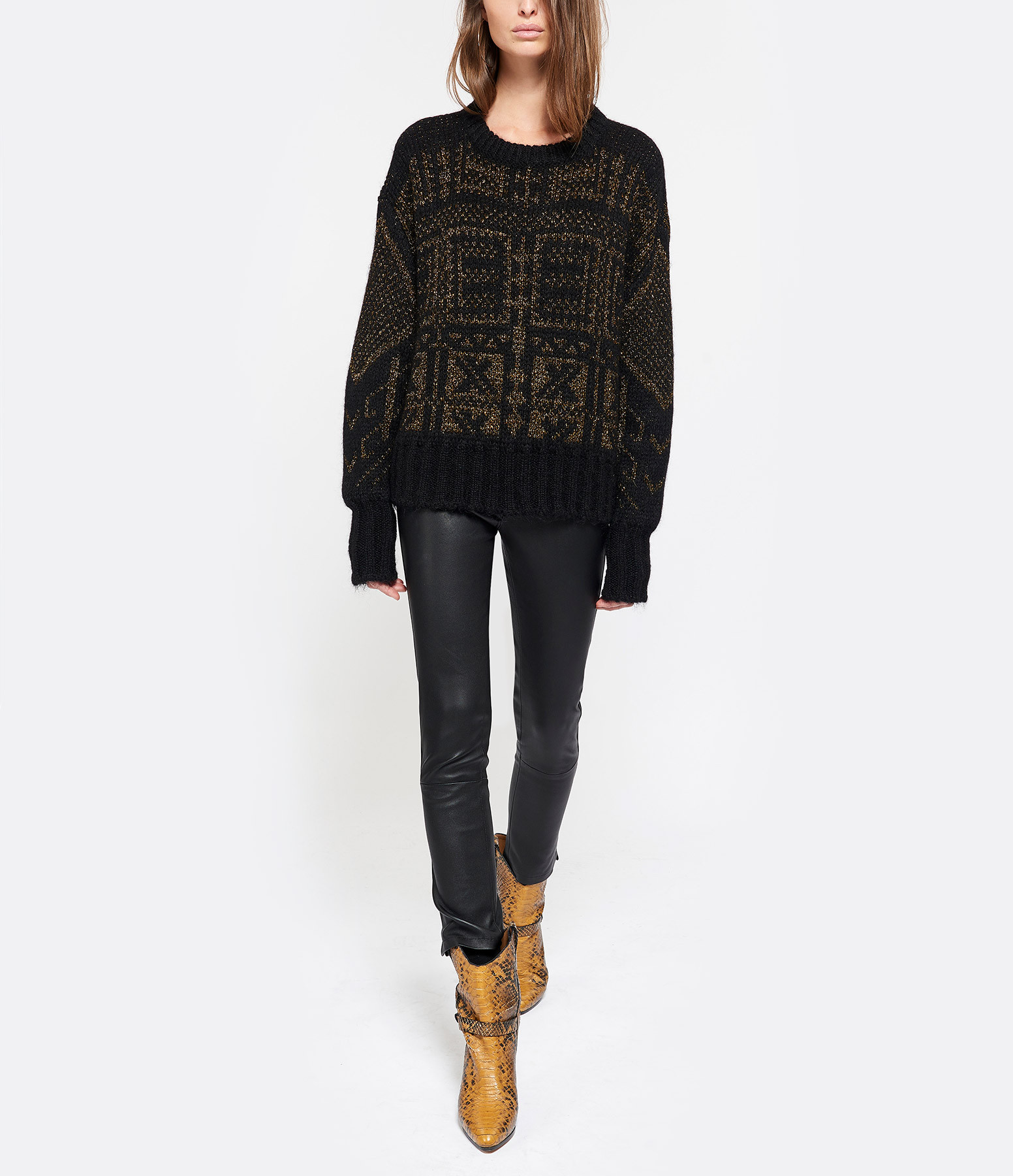 VENTCOUVERT - Pantalon Nine Cuir Agneau Softy Stretch Noir
