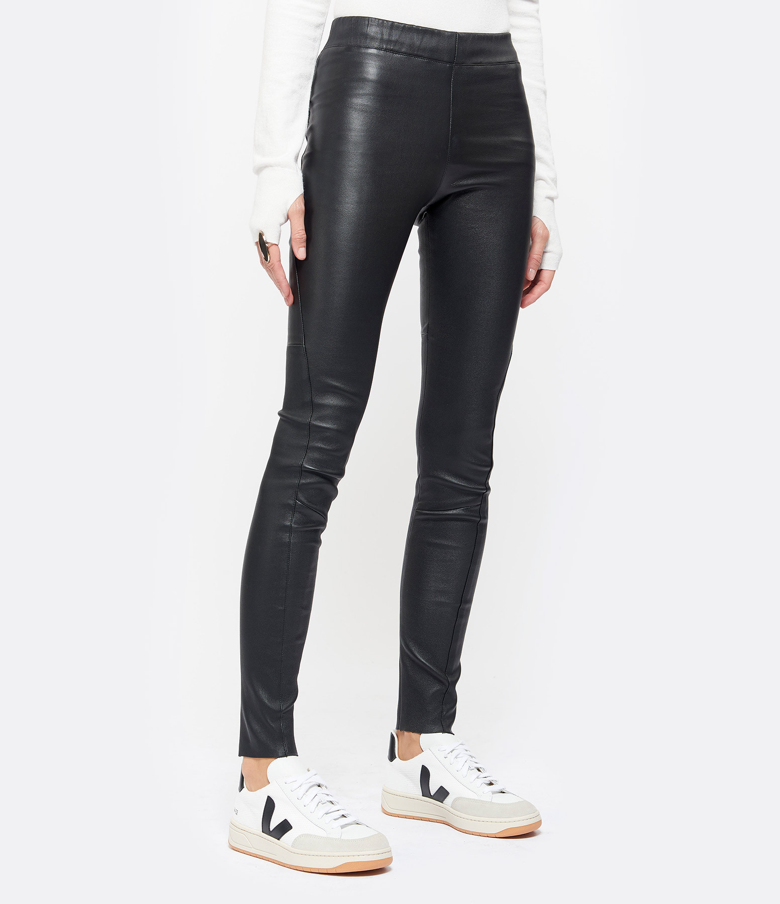 VENTCOUVERT - Pantalon Java Agneau Stretch Noir