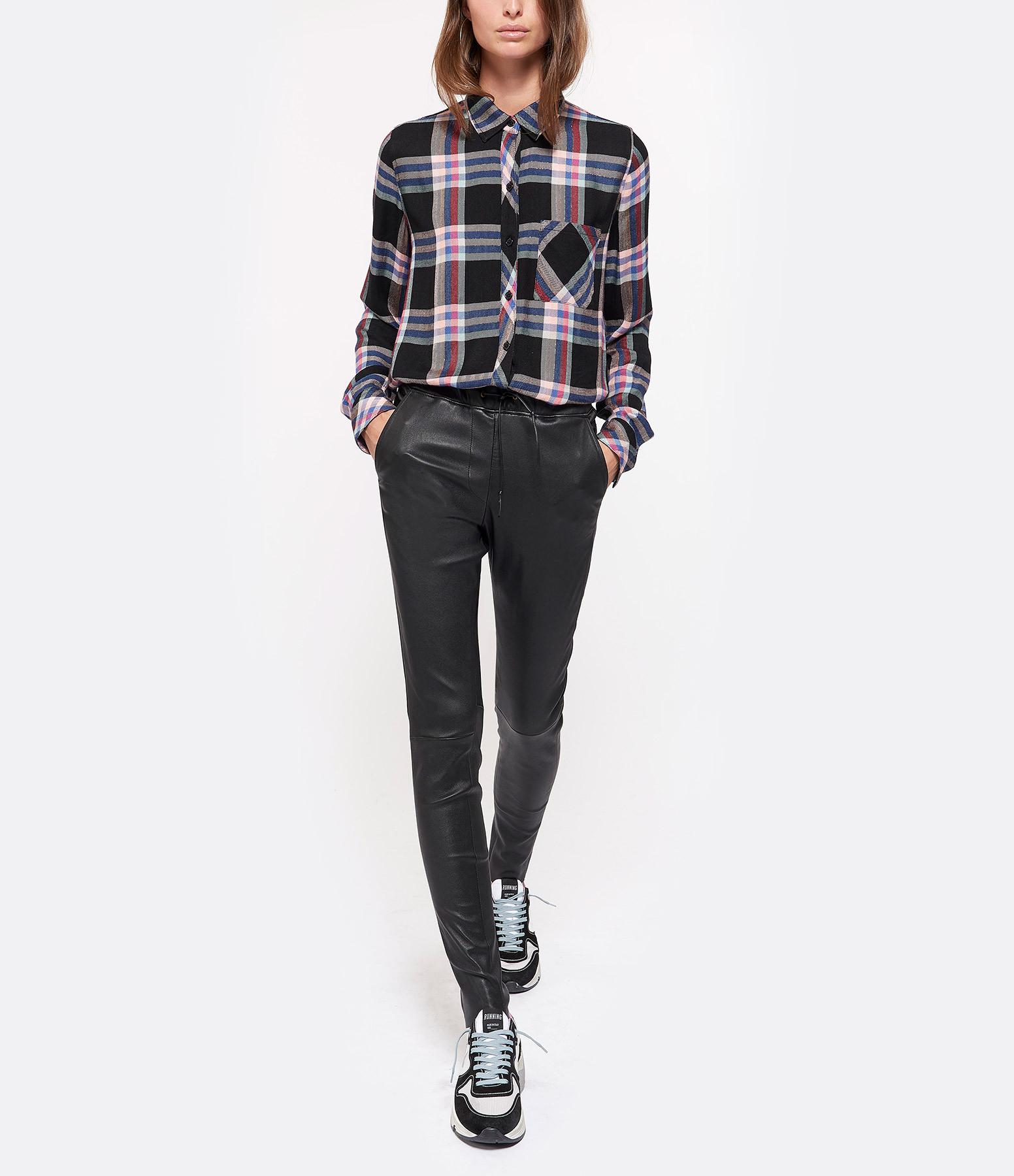 VENTCOUVERT - Pantalon Karen Cuir Agneau Stretch Noir