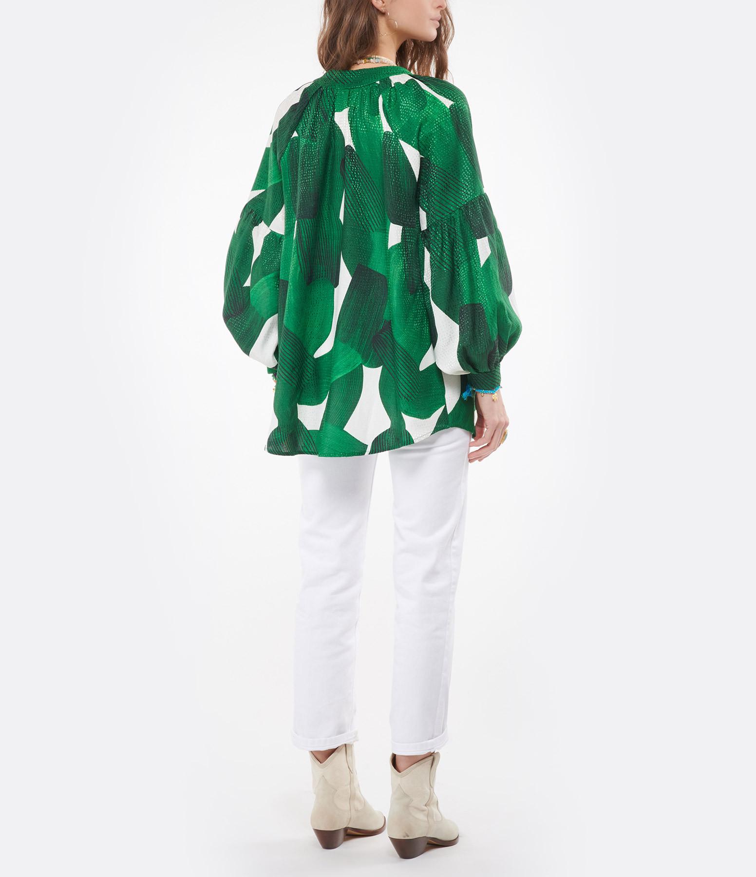 VALENTINE GAUTHIER - Blouse Barragan Coton Imprimé Vert