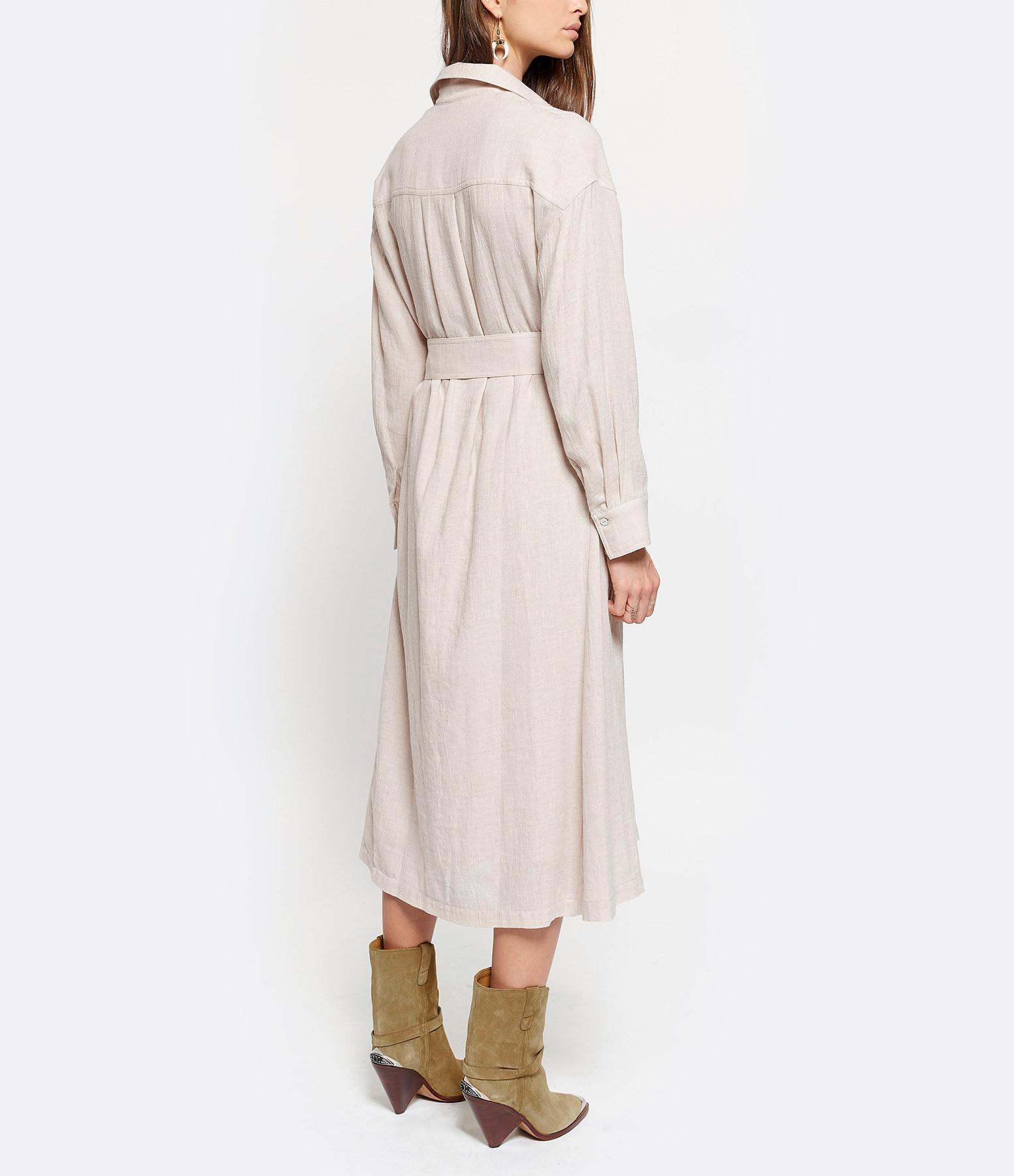 VINCE - Robe Ceinturée Beige Avoine