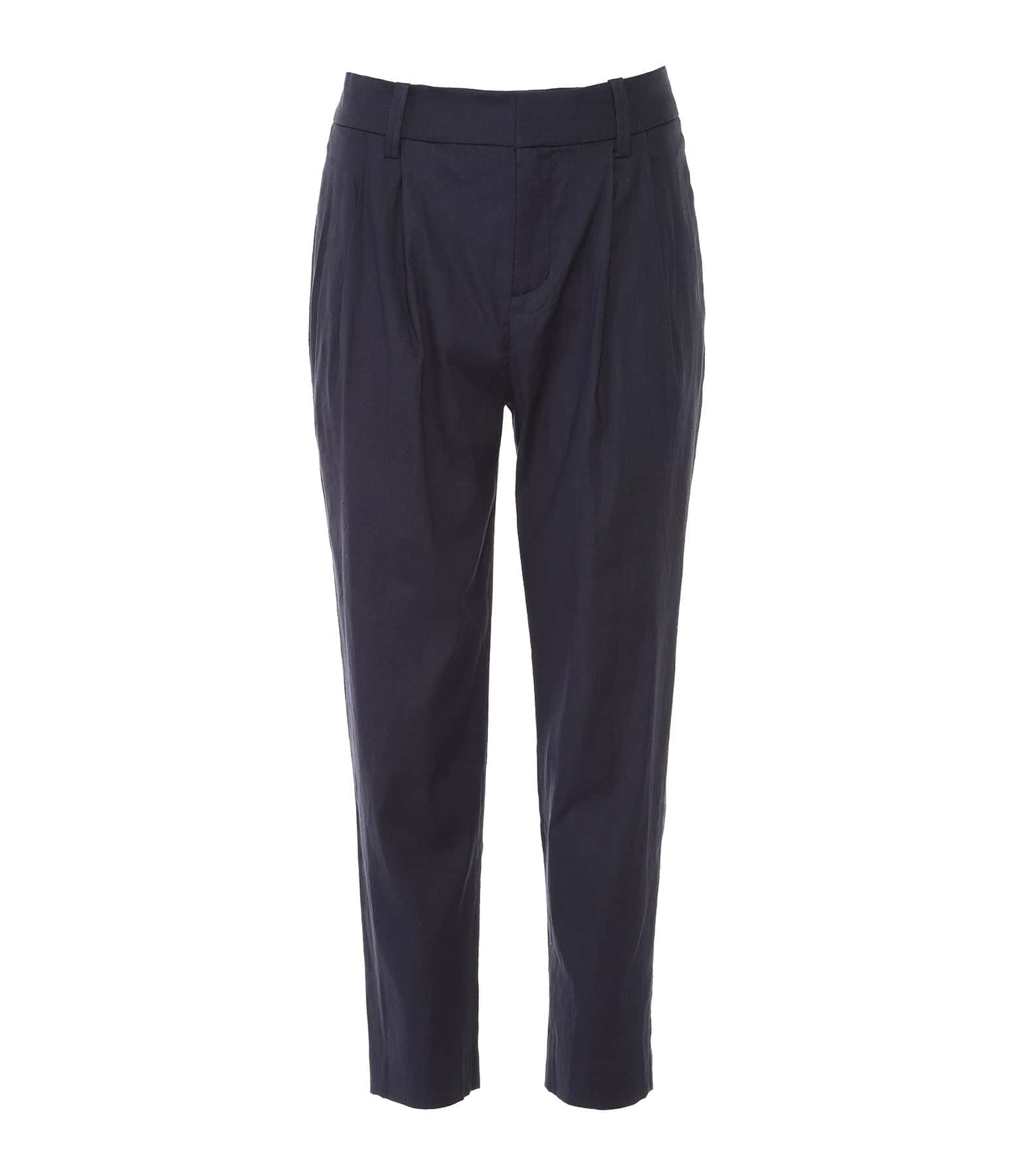 VINCE - Pantalon Taille Haute Bleu Marine