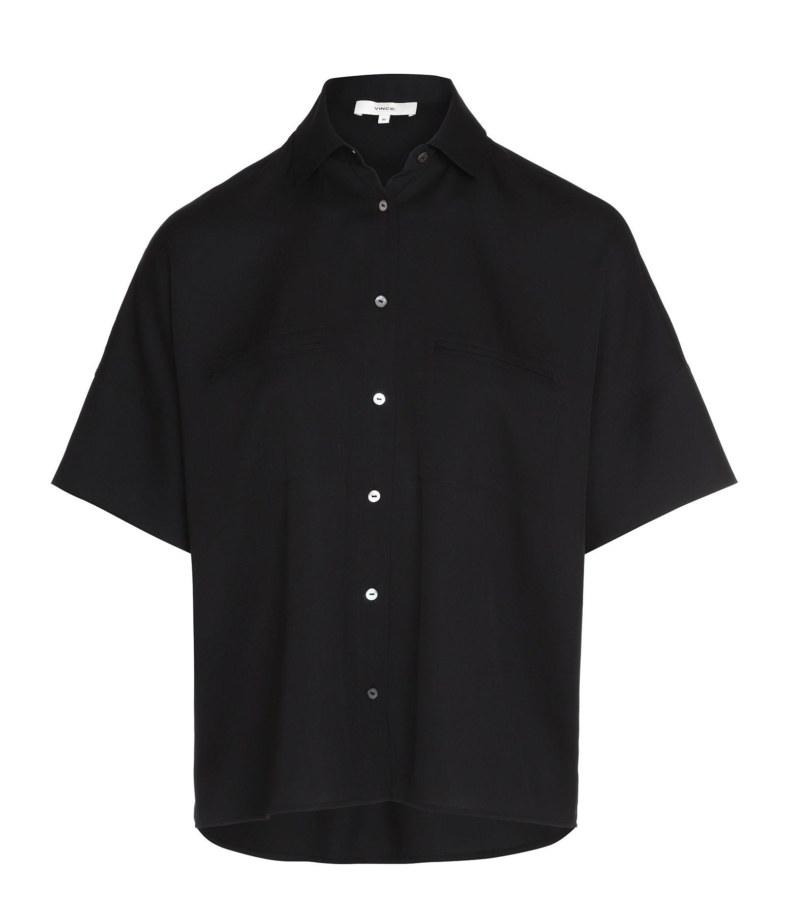 VINCE - Chemise Soie Noir