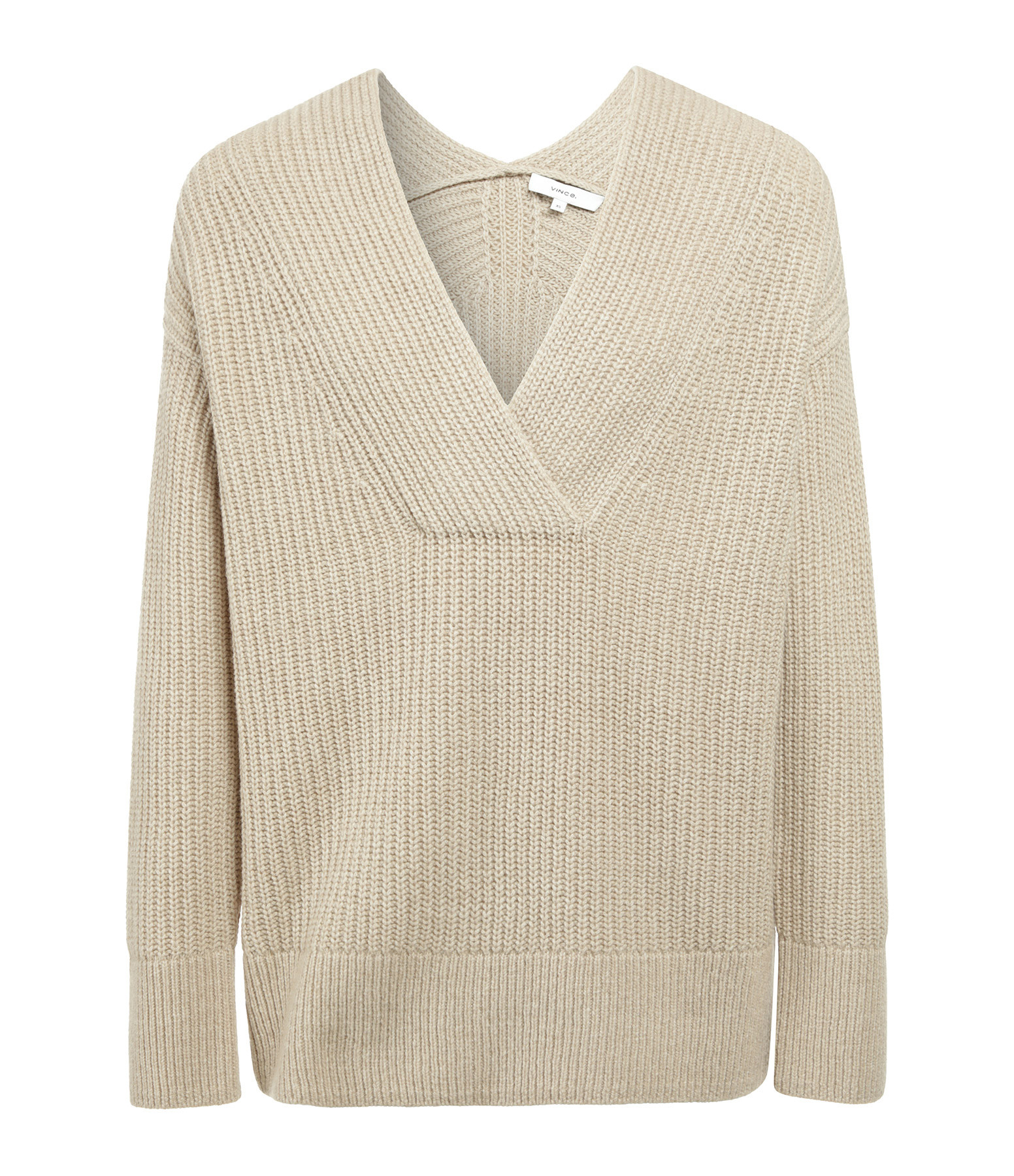 VINCE - Pull Col V Taupe