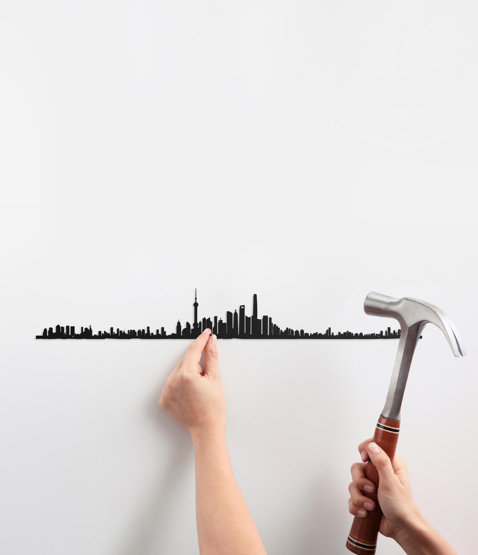 THE LINE - Sculpture Murale Métallique Shanghai Noir