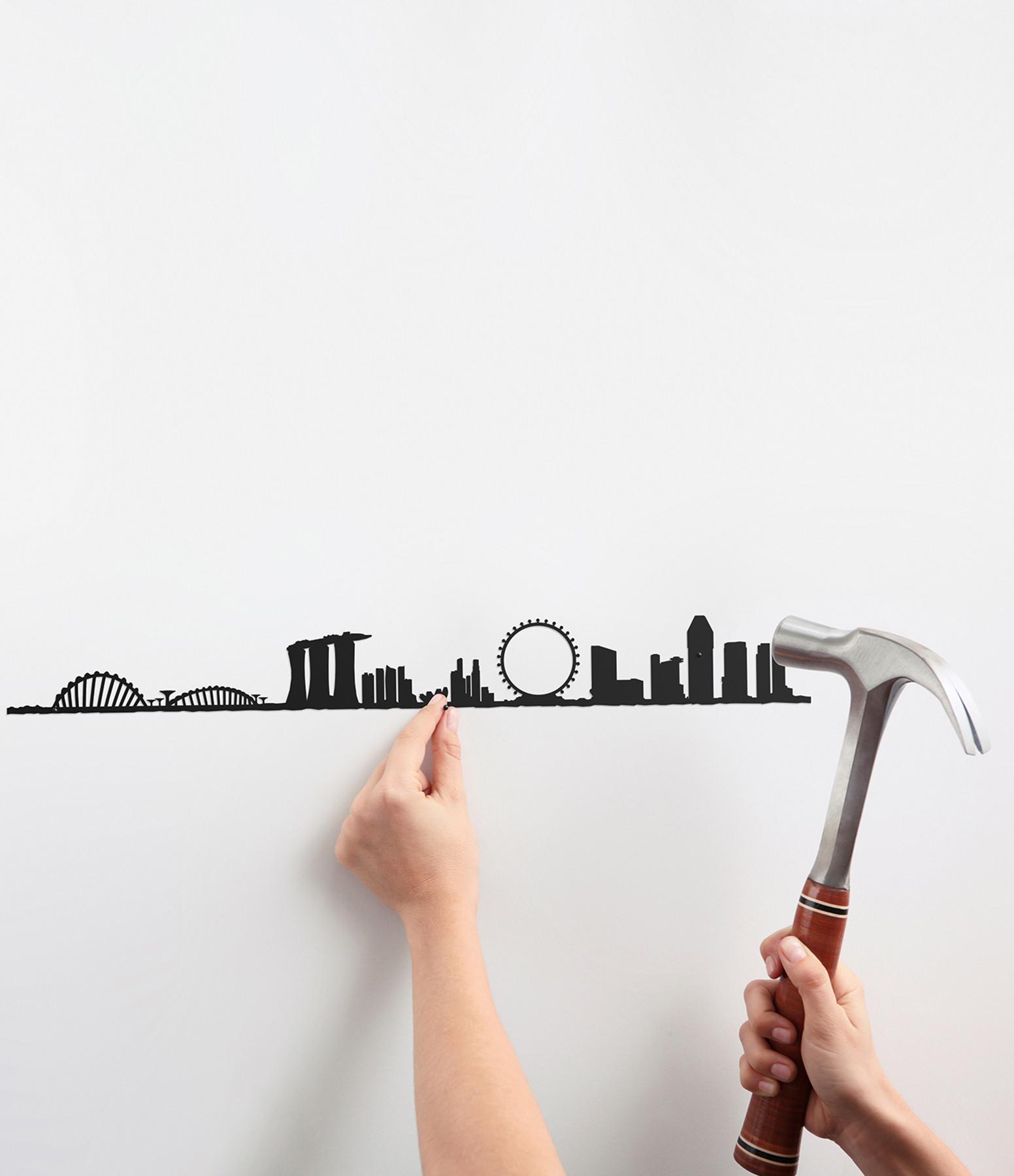 THE LINE - Sculpture Murale Métallique Singapore Noir