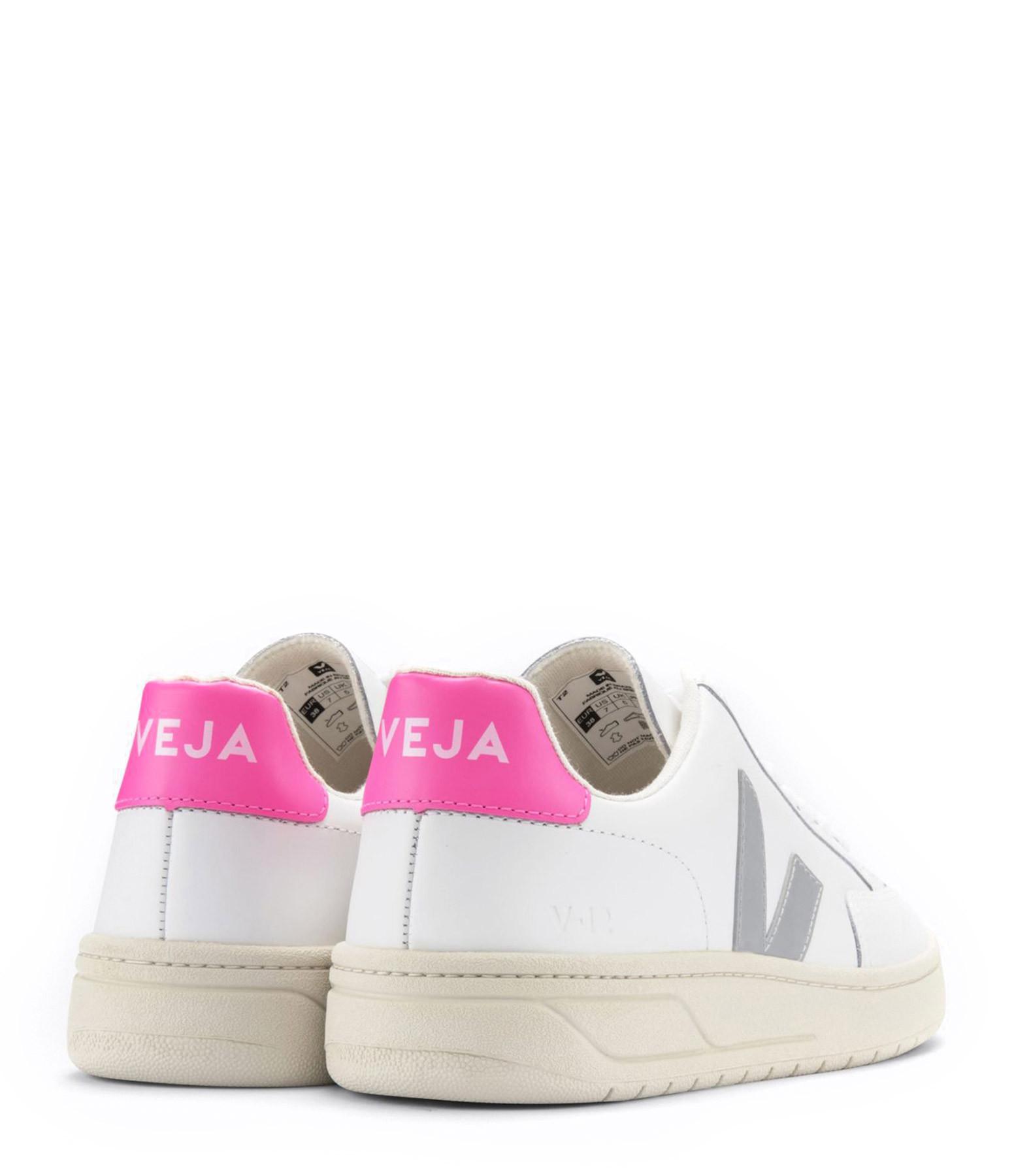 VEJA - Baskets V-12 Cuir Extra Blanc Gris Rose