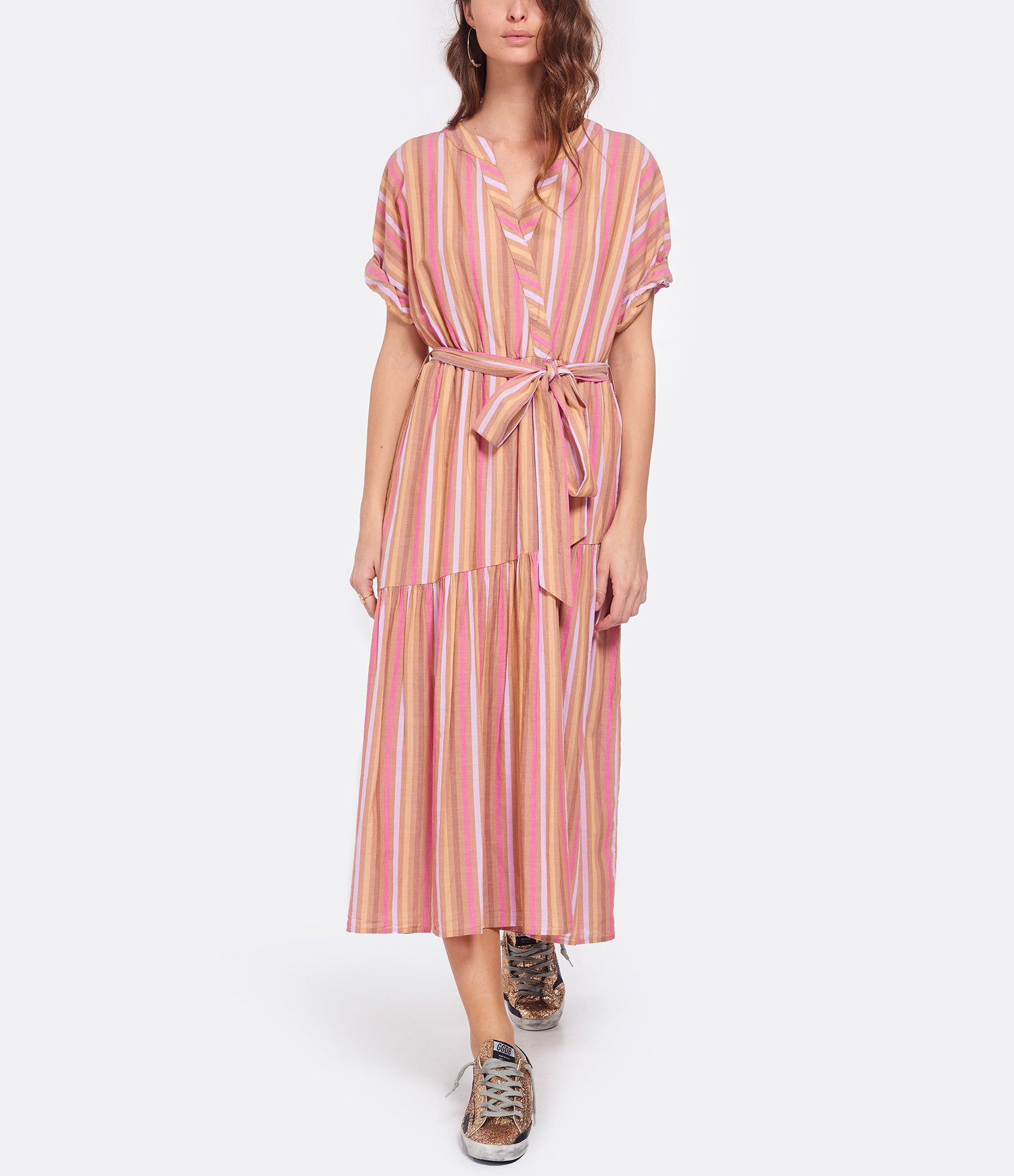 XIRENA - Robe Drue Rayures Coton Tuleries