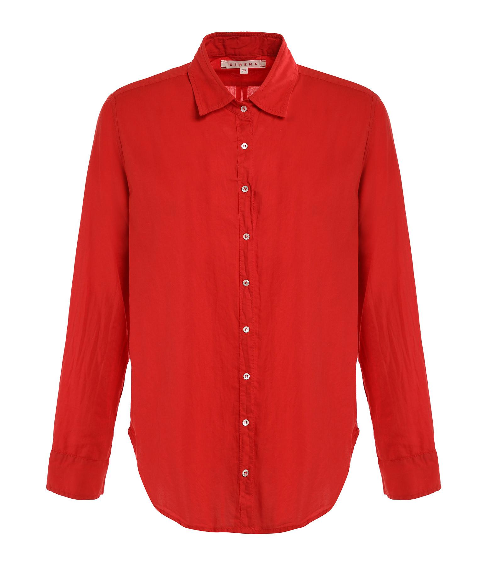 XIRENA - Chemise Beau Coton Rouge