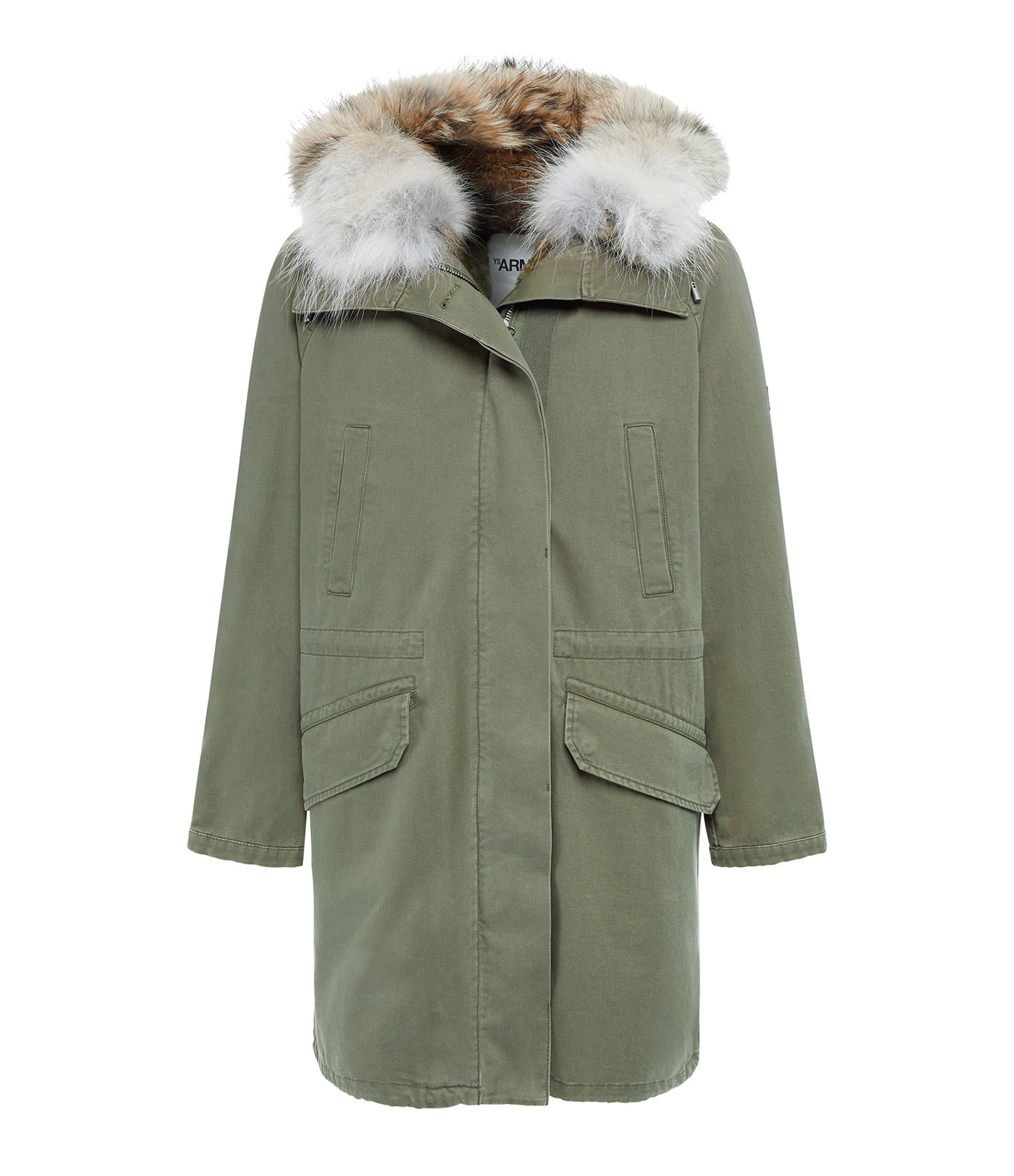 YVES SALOMON - ARMY - Parka Coton Lapin Coyote Vert Chasseur Naturel
