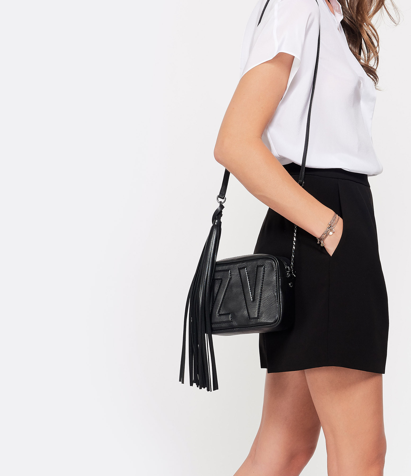 ZADIG & VOLTAIRE - Sac XS Boxy Initial Cuir Noir