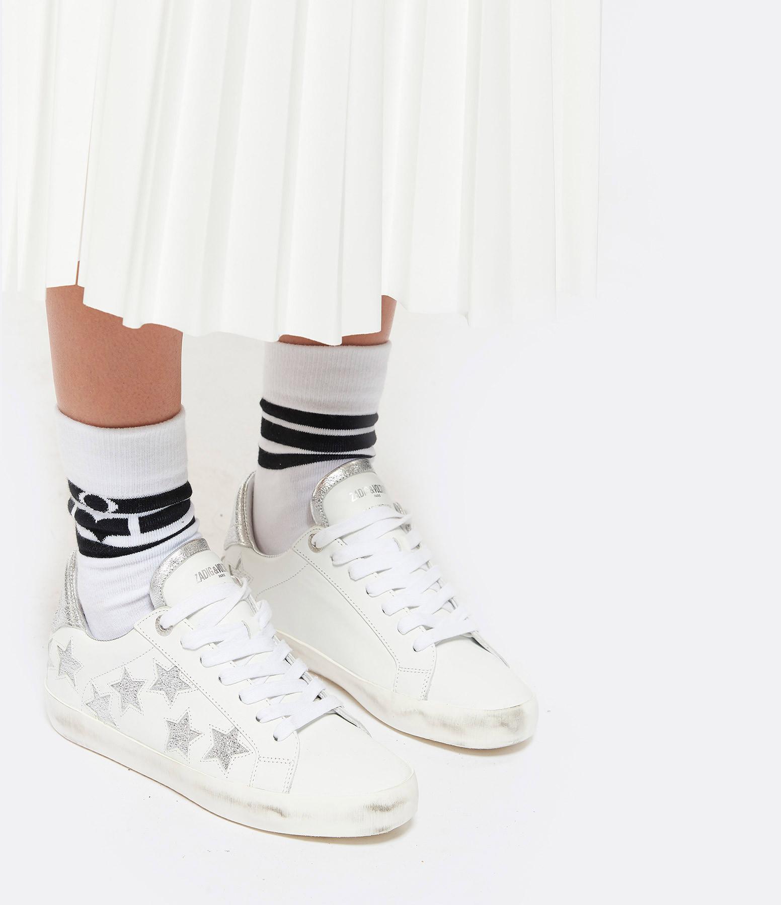 ZADIG & VOLTAIRE - Baskets Zadig Used Etoile Cuir Blanc