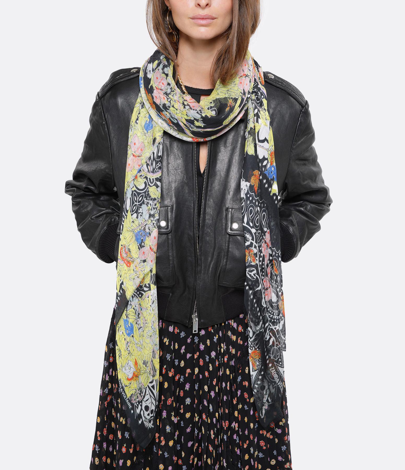 ZADIG & VOLTAIRE - Foulard Fray Blossom Noir