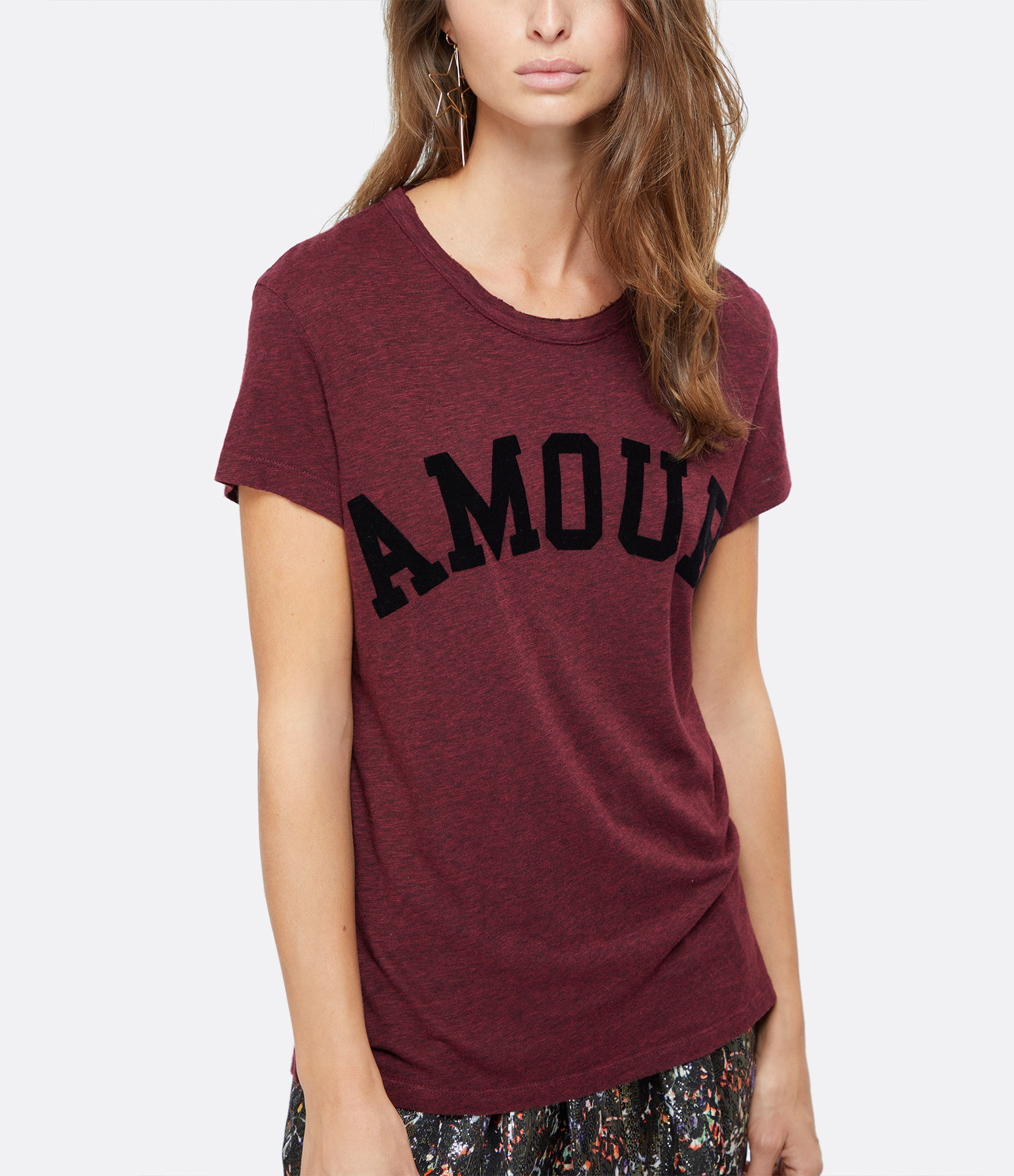 ZADIG & VOLTAIRE - Tee-shirt Walk Amour Chin Bordeaux