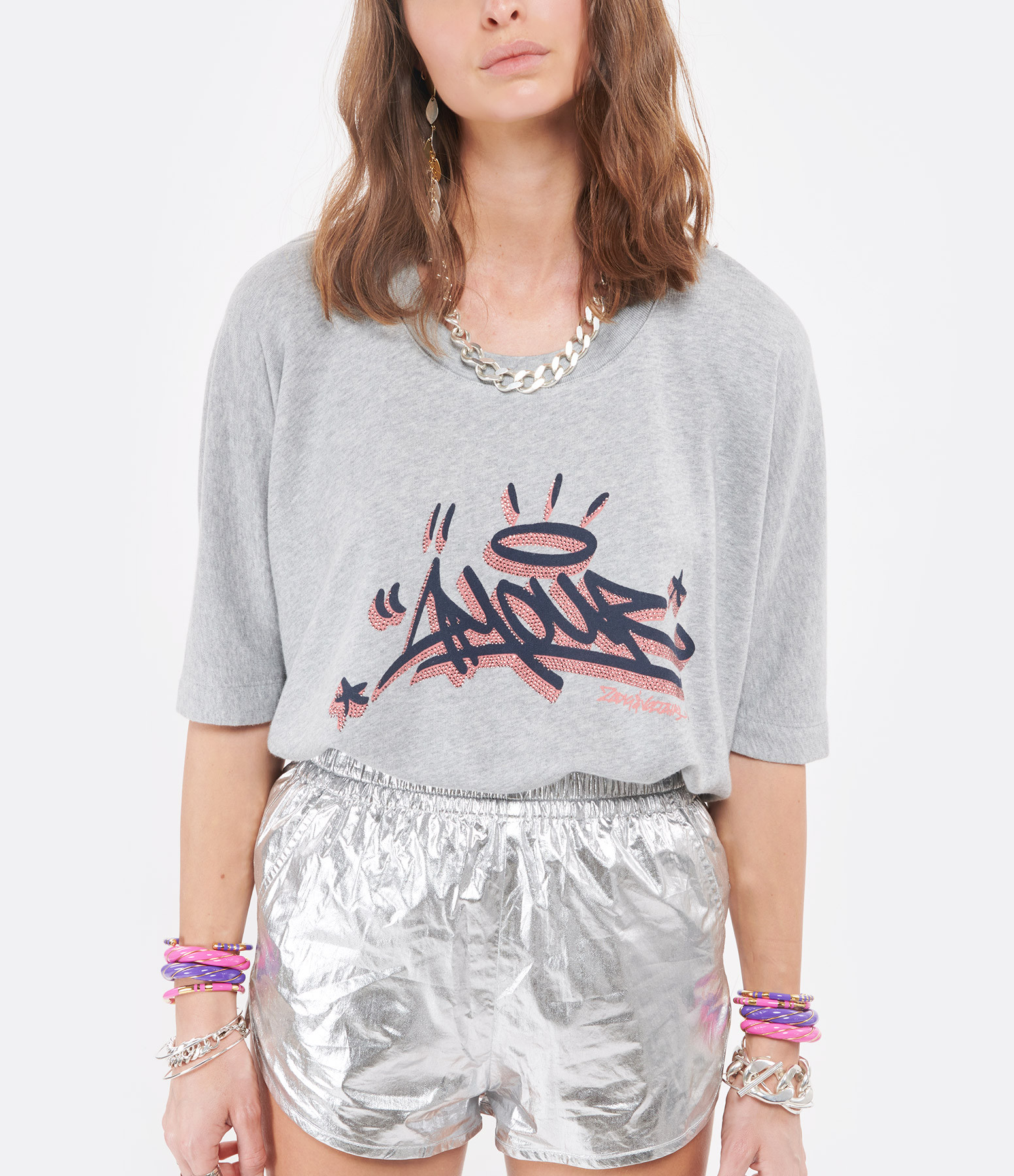 ZADIG & VOLTAIRE - Tee-shirt Portland Jormi Coton Modal Gris Chiné