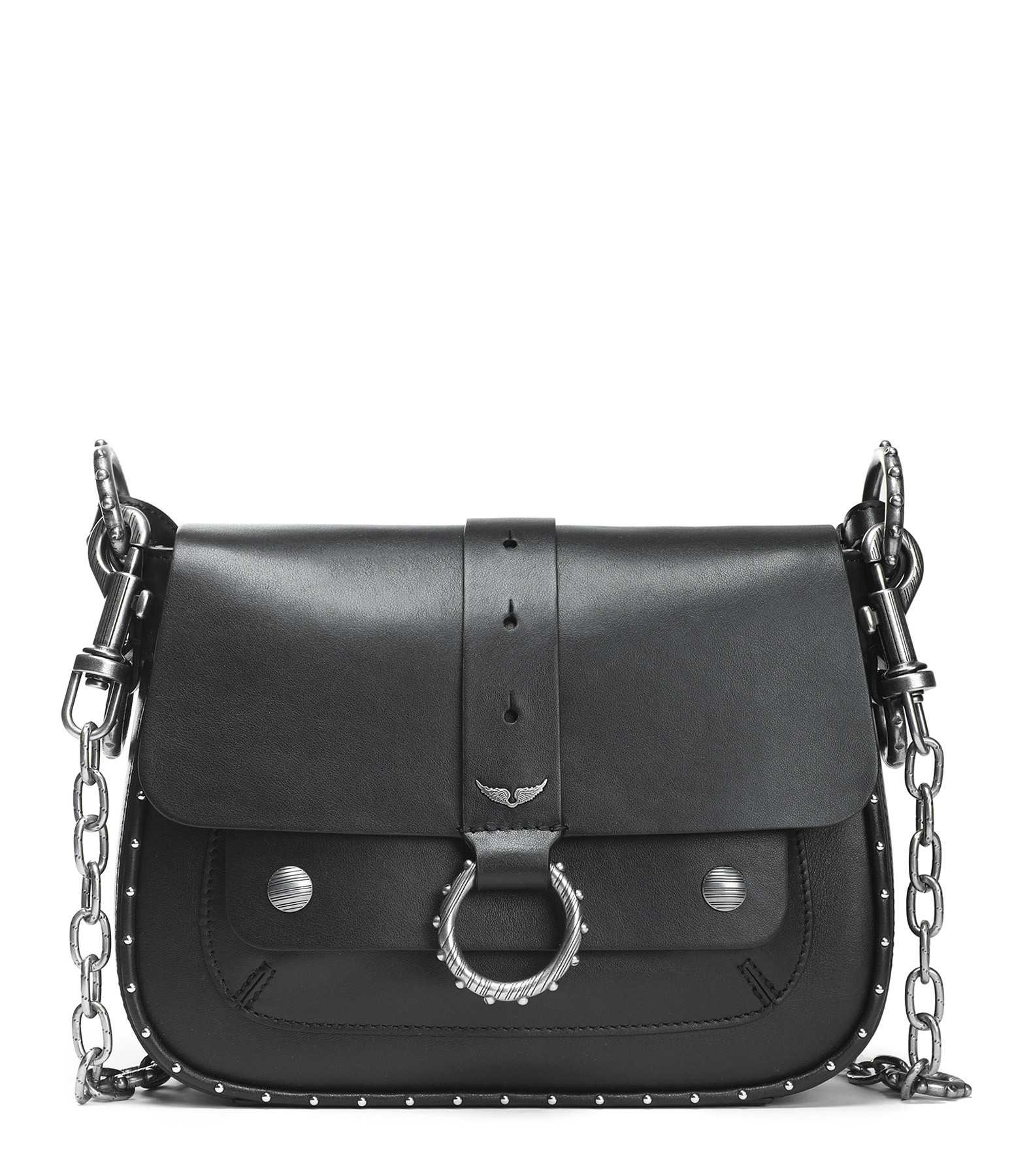 ZADIG & VOLTAIRE - Sac Smooth Cuir Noir, Collection Kate Moss