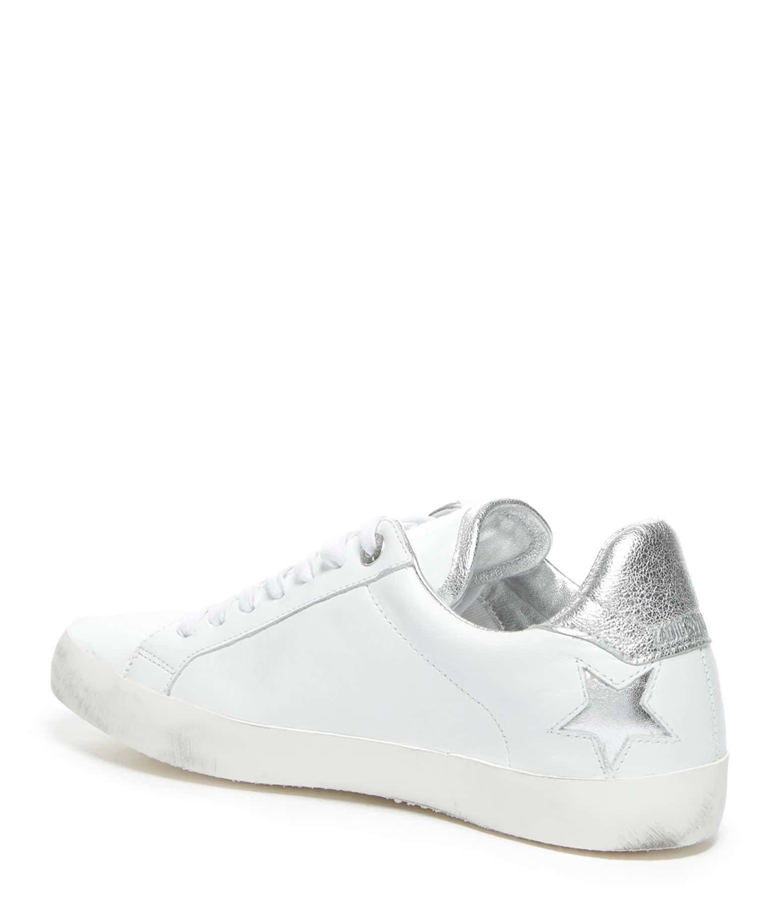 ZADIG & VOLTAIRE - Baskets Zadig Used Star Cuir Blanc