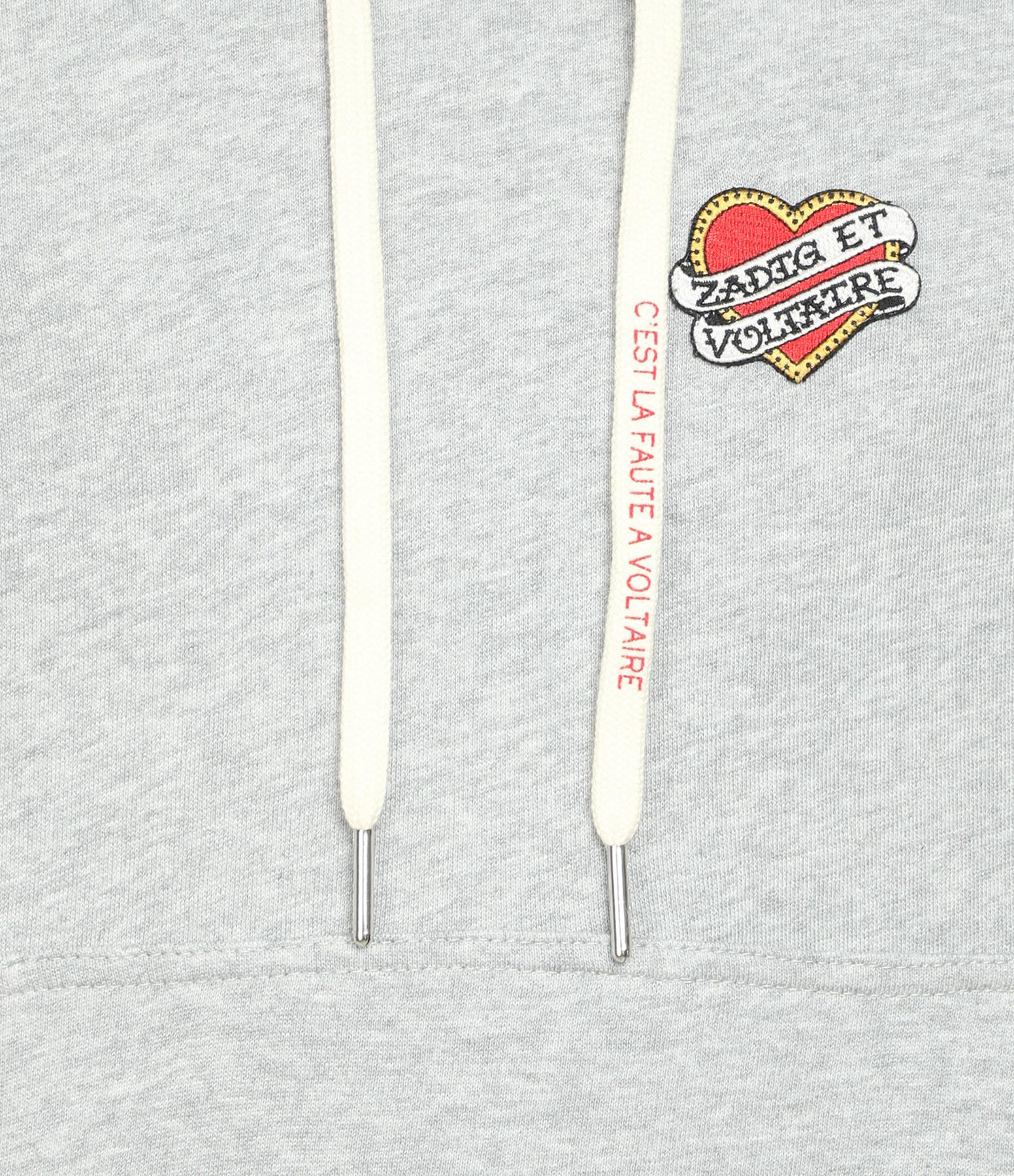 ZADIG & VOLTAIRE - Sweatshirt Clipper Heart Coton Gris Chiné