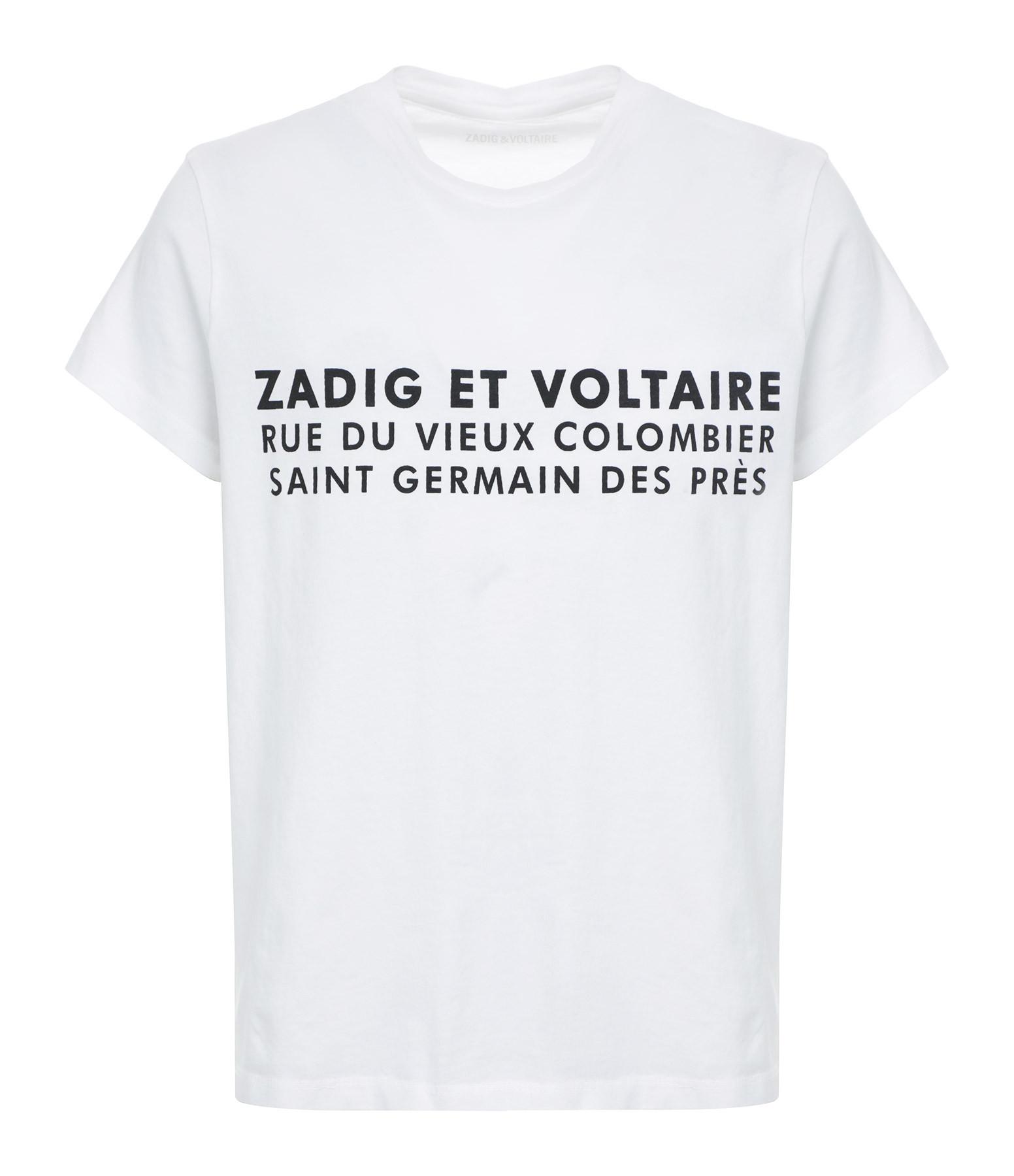 ZADIG & VOLTAIRE - Tee-shirt Zoé ZV Address Coton Blanc
