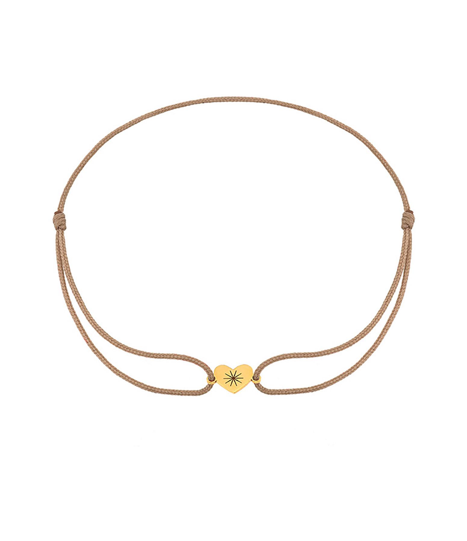 LA SUPERBE - Bracelet Cordon Cœur Or Jaune Beige