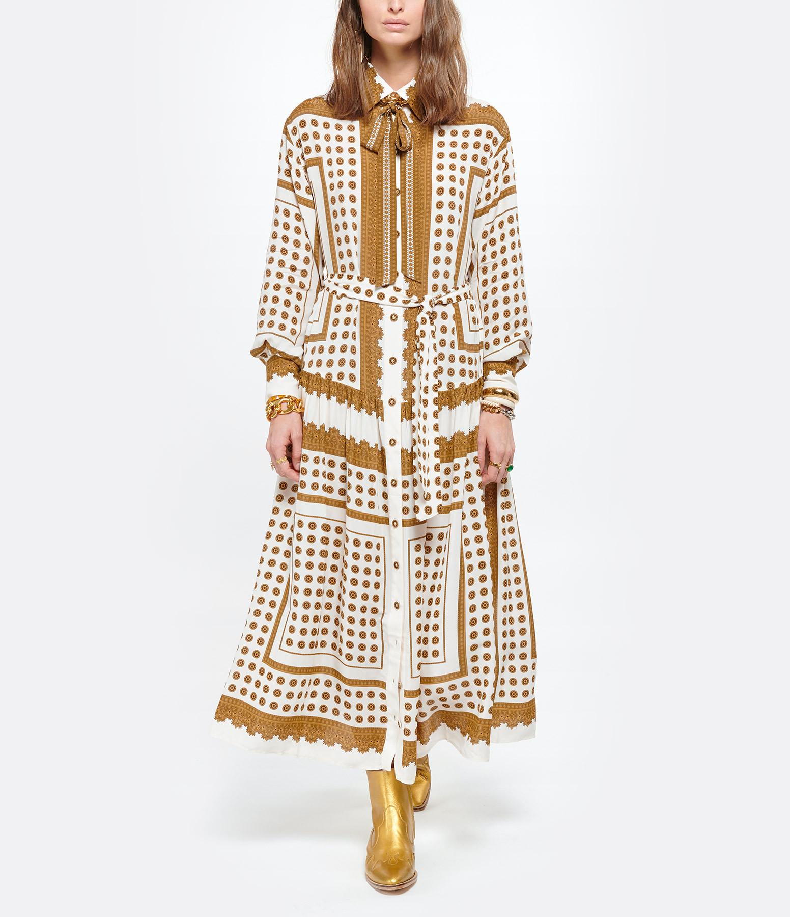 ZIMMERMANN - Robe Midi Imprimé Pois Marron