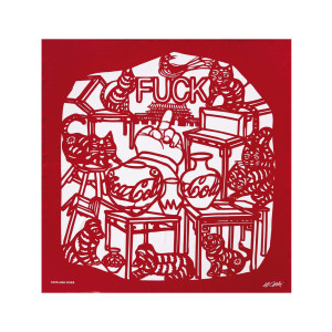 "Foulard Soie Rouge ""Cats and Dogs"", Édition Limitée Taschen x Ai Weiwei."