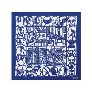 """Foulard Soie Bleu """"Haircut"""", Édition Limitée Taschen x Ai Weiwei."""