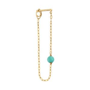 Boucle d'oreille Massilia Turquoise (vendue à l'unité) Or Jaune