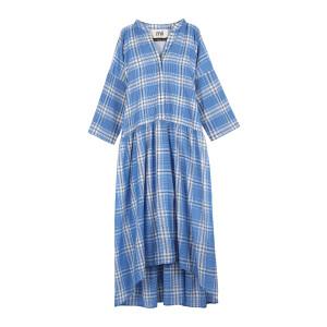 Robe Tara Coton Carreaux Bleu