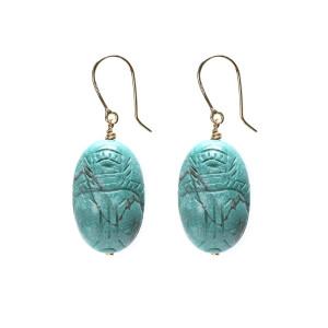 Boucles d'oreilles Scarabée Turquoise GM - Joaillerie