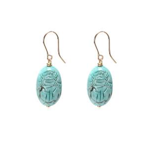 Boucles d'oreilles Scarabée Turquoise MM - Joaillerie