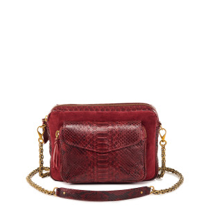Sac Big Charly Python, Suédé Bordeaux