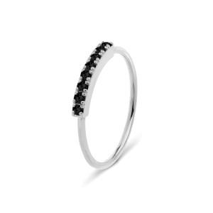 Bague Demi-Alliance Hash Diamants Noirs Or Blanc
