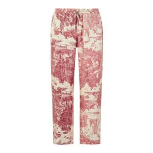 Pantalon Aloe Soie Imprimé Blanc Rose