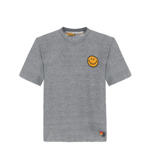 Tee-shirt Smiley Brodé Gris Chiné