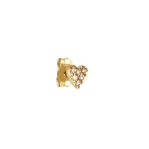 Boucle d'oreille Cœur Diamants Or (vendue à l'unité)