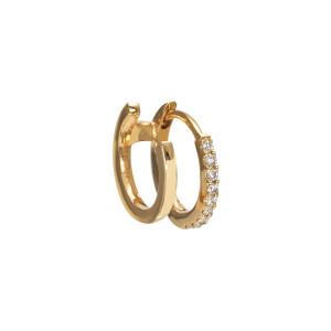 Mini Créole Double Demi-Pavée Diamants Or (vendue à l'unité)