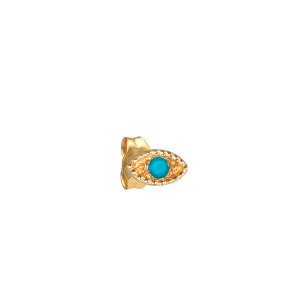 Boucle d'oreille Œil Turquoise Or (vendue à l'unité)